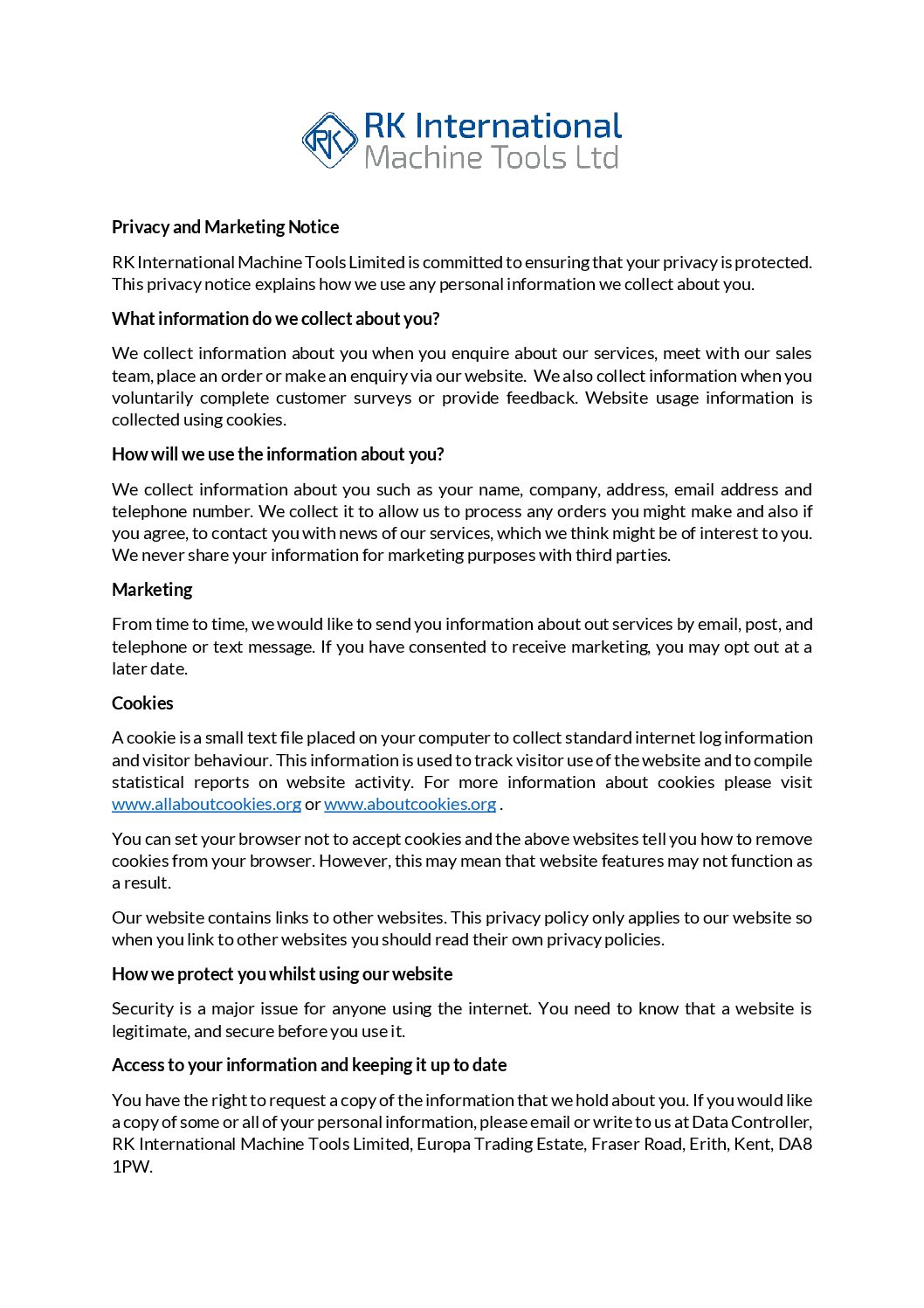 RK International Privacy and Marketing Notice 05 18 - RK