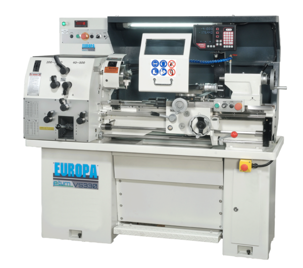The compact EUROPA eturn VS330 gap bed centre lathe